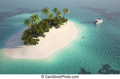 aerial view of a caribbean desert island in a turquoise water with a woman diving and a yatch as a concept for quiet vacations
