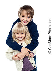 Affectionate siblings having fun together