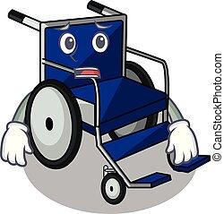 Afraid cartoon wheelchair in a hospital room