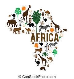 Africa landmark map silhouette icons on white background, vector illustration