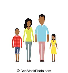 African American Happy Family Four People, Parents With Two Children Flat Illustration