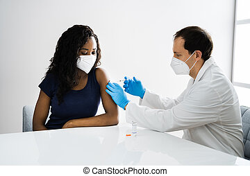 African American Patient Getting Covid-19 Vaccine