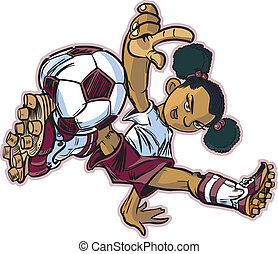 African Break Dancing Soccer Girl