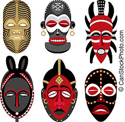 Six African masks. No transparency and gradients used.