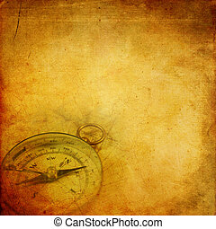 Aged paper background with an old compass and map pattern