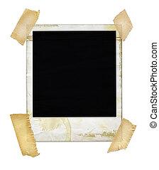 Aged polaroid with masking tape.