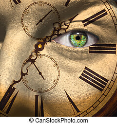 Clock painted on male face to aging or bio clock concept