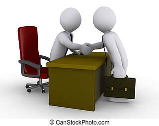 Two 3d businessmen shake hands in an office