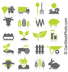 Set of icons on a theme agriculture. A vector illustration