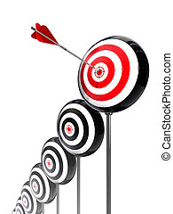 aim higher targets row on white background. clipping path included