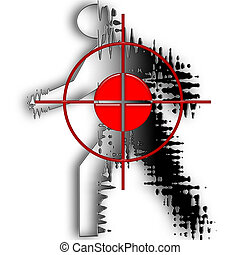 Red target on the grey running human silhouette illustration over white background
