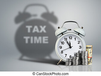 Alarm clock with money and tax time shadow, financial concept