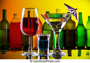 Alcohol drinks and cocktails on bar