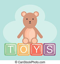 alphabet blocks with teddy bear
