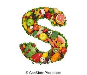 Letter S made of fresh fruits and vegetables isolated on white.