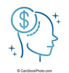 alzheimers disease neurological brain forget money gradient line icon