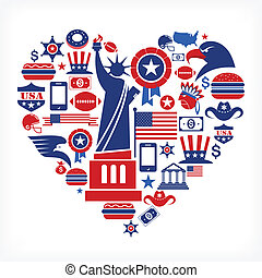 US love - heart shape with set of vector icons