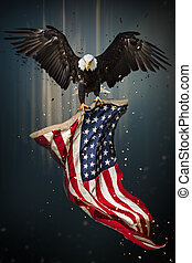 American Bald Eagle flying with Flag.