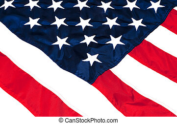 Closeup of stars and stripes on American flag.