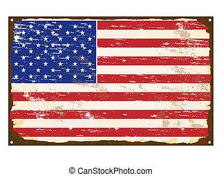 American flag on rusty old enamel sign