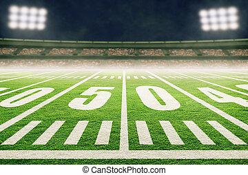 American Football Field With Stadium Lights and Smoke
