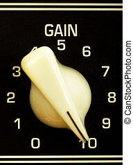 retro guitar amplifier control panel, gain on maximum, close up