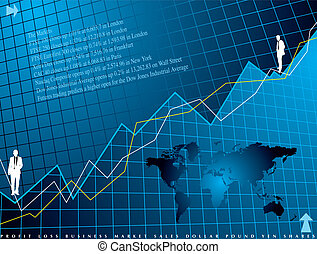 An abstract financial background in blue showing a graph for shares