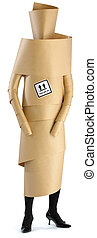 an employee, woman, staff member wrapped in brown paper ready for an office move isolated on a white background