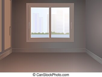 An empty room with a window and an urban landscape