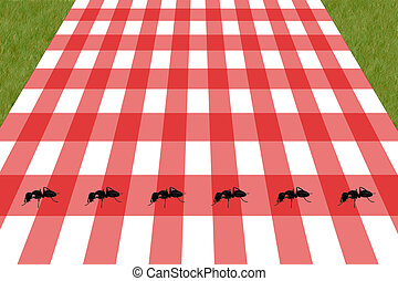 an illustration of a picnic table with ants