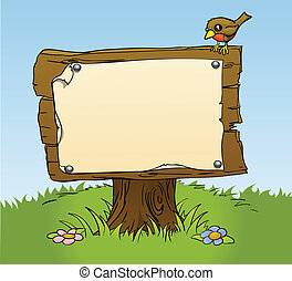 An illustration of a rustic wooden sign with copy space for your own text. Surrounded by a bird and flowers for a perfect woodland scene
