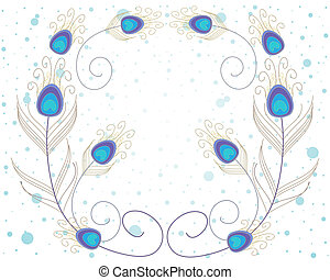 an illustration of abstract peacock feathers in blue and gold on a white spotty background