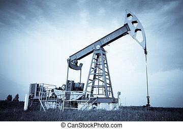 An oil pump jack. Selenium tone.