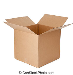 Open empty corrugated brown cardboard box on a white background