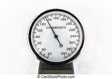 analog sphygmomanometer with white background