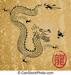 Ancient Chinese dragon and texture background, vector layered.
