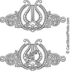 Ancient lyre and decorative elements.
