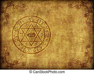 Illustration of a burned-in, aged ancient magical sigil or seal on a worn, textured background.