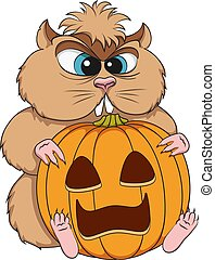 Angry hamster sits with a pumpkin. Isolated vector color object.