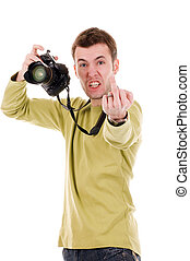 Angry man with camera
