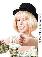 Angry woman tear dollar apart