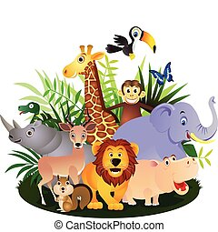 adorable africa animals background banner beauty butterfly cartoon color colorful comic conservation cute elephant forest giraffe grass green group happy hippo icon illustration jungle leaf lion mammal monkey natural nature plant rhino safari smile snake squirrel symbol toucan tree vector wild ...
