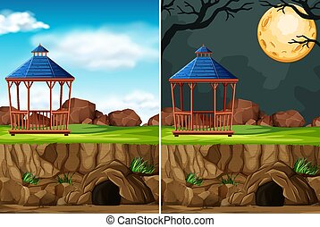 Animal park construction without animal on day and night background in cartoon style