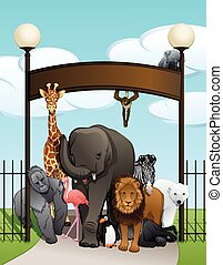 Animals At Zoo Gate
