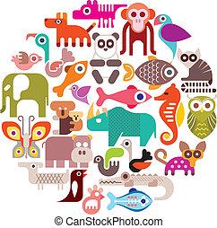 Animals round vector illustration