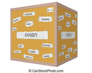 Annuity 3D cube Corkboard Word Concept
