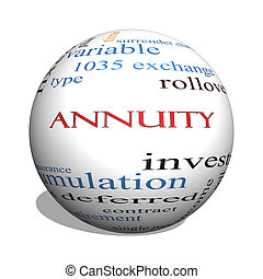 Annuity 3D sphere Word Cloud Concept with great terms such as investment, rollover, income and more.