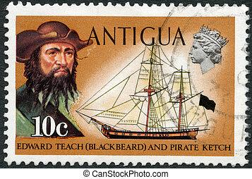 ANTIGUA - CIRCA 1970: A stamp printed in Antigua shows Blackbeard (Edward Teach) and pirate ketch, circa 1970