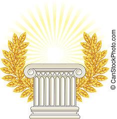 Antique Greek Column and gold Laurel.