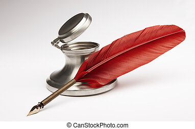 Red quill pen with silver inkwell